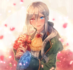 androgynous blue_eyes blush box cravat formal gift gift_box heterochromia long_hair looking_at_viewer moe_(hamhamham) personification petals pokemon red_eyes roserade smile solo upper_body white_hair