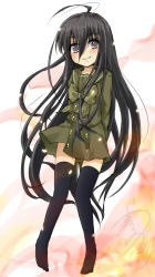 1girl black_hair brown_eyes gradient_background long_hair school_uniform shakugan_no_shana shana smile standing thighhighs umarutsufuri