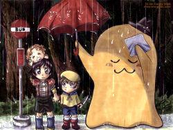 1girl 2boys artist_request bus_stop cheese-kun code_geass crossover handkerchief hat knife lelouch_lamperouge multiple_boys nunnally_lamperouge parody rain rolo_lamperouge tonari_no_totoro umbrella watermark web_address