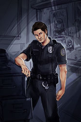 1boy ashley_graham badge brown_hair cameo deltastic handcuffs holster missing_poster police police_uniform poster radio resident_evil resident_evil_4 sebastian_castellanos solo the_evil_within uniform