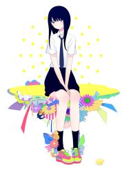 1girl animal bird black_hair black_legwear blush flower food frills fruit lemon long_hair necktie original ribata ribbon school_uniform shirt shoes short_sleeves sitting skirt sneakers socks solo swallow uniform white_background