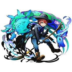 1boy blue_eyes blue_scarf boots coat cross-laced_footwear divine_gate dragon gloves green_eyes grin hat hat_over_one_eye heterochromia index_finger_raised lace-up_boots looking_at_viewer male_focus marc_(divine_gate) official_art paintbrush red_hair riding scarf short_hair smile solo sun transparent_background ucmm white_gloves