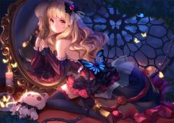 1girl axe black_legwear blonde_hair butterfly chained chains dress earrings high_heels jewelry long_hair mayu_(vocaloid) mirror night orange_eyes revision sky solo stellarism stuffed_animal stuffed_bunny stuffed_toy thighhighs vocaloid weapon