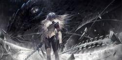 1girl alcd black_gloves blue_eyes gloves highres long_hair looking_at_viewer original pixiv_fantasia pixiv_fantasia_t silver_eyes snake solo sword vest weapon