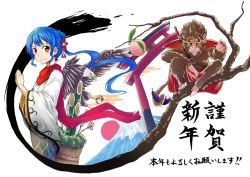 alternate_costume bamboo bird blue_hair eagle food fruit happy_new_year hinanawi_tenshi japanese_clothes judo_fuu kimono long_hair monkey mount_fuji new_year peach ponytail red_eyes red_sun scarf smile sun_wukong torii touhou