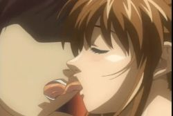 1boy 1girl animated animated_gif bible_black breast_grab breasts brown_hair female french_kiss hair_ornament imari_kurumi kiss moaning nipple_tweak nippleplay nipples nude open_mouth side_ponytail