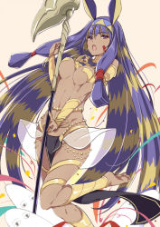 1girl :o barefoot bracelet breasts dark_skin earrings egyptian egyptian_clothes facial_mark fate/grand_order fate_(series) hairband hoop_earrings jewelry long_hair looking_at_viewer medjed multicolored_hair mutou_kurihito nitocris_(fate/grand_order) open_mouth purple_eyes purple_hair sidelocks solo staff two-tone_hair underboob very_long_hair