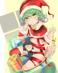 1girl bell bell_collar character_doll character_request collar curly_hair doll gift green_eyes green_hair hand_on_own_face hat highres looking_at_viewer one-punch_man pingqiong_xiansheng red_legwear red_ribbon ribbon saitama_(one-punch_man) santa_hat short_hair tatsumaki thighhighs