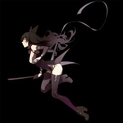 1girl ask_(askzy) black_background black_hair blake_belladonna boots breasts detached_sleeves high_heel_boots high_heels large_breasts long_hair ribbon rwby sketch solo thighhighs thighs