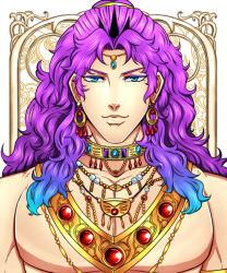 1boy animal_ears blue_eyes blue_hair earrings fooooota gradient_hair horns jewelry jojo_no_kimyou_na_bouken kars_(jojo) long_hair looking_at_viewer male multicolored_hair necklace purple_hair solo tiara