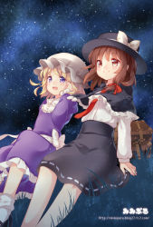 2girls black_hair brown_eyes brown_hair capelet dress grass hat hat_ribbon long_sleeves maribel_hearn mimi_(mimi_puru) mob_cap multiple_girls necktie open_mouth purple_dress purple_eyes ribbon shirt sitting_on_ground skirt sky smile star_(sky) starry_sky suitcase touhou usami_renko