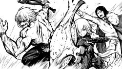 1girl 2boys armor armored_boots armored_dress axe belt_buckle bleeding blood boots buckle cape debris fate/grand_order fate_(series) greyscale grimace hair_over_one_eye injury kanno_takanori monochrome multiple_boys muscle necktie open_mouth outstretched_arm sakata_kintoki_(fate/grand_order) shield shielder_(fate/grand_order) shirtless short_hair sunglasses sweatdrop watch waver_velvet weapon wind