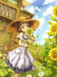 1girl apron ashida_(5232334) blush brown_eyes brown_hair child cloud dress dutch_angle fence flower garden grass hat head_tilt house looking_at_viewer one_eye_covered original plant potted_plant power_lines scenery short_hair sky solo straw_hat sun_hat sundress sunflower telephone_pole