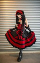 asian boots cosplay date_a_live dress gothic_lolita lolita_fashion lolita_hairband long_hair photo tokisaki_kurumi twintails