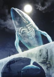 black_hair bone bridge cloud flying_whale moon night night_sky original outdoors scenery science_fiction ship sky spine technoheart transparent whale x-ray