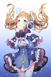 1girl bangs blonde_hair blue_background blue_bow blue_dress blue_eyes blue_ribbon blush bow capelet chitetan cowboy_shot cupping_hands dress earmuffs floating_hair frills gradient gradient_background hands_up long_hair looking_up mittens open_mouth original own_hands_together petticoat purple_scarf ribbon scarf sidelocks snow snowflakes solo thighhighs twintails white_legwear