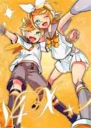 1boy 1girl ;d aqua_eyes black_shorts blonde_hair bow bowtie detached_sleeves fortissimo hand_on_another's_back headphones highres hug kagamine_len kagamine_len_(vocaloid4) kagamine_rin kagamine_rin_(vocaloid4) leaning_back leaning_forward leaning_on_person necktie one_eye_closed open_mouth orange_background outstretched_arm outstretched_leg piano_print sailor_collar see-through semaru short_hair shorts siblings smile sparkle twins v4x vocaloid white_shorts