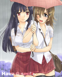 2girls ai_ai_gasa hand_holding higashiyama_hayato isao_higashiyama lowres multiple_girls original school_uniform serafuku shared_umbrella thighhighs umbrella watermark wet wet_clothes
