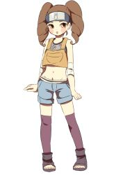 1girl blush_stickers brown_hair drill_hair forehead_protector headband midriff naruto naruto_shippuuden navel o96ap orange_eyes purple_legwear shorts simple_background solo standing thighhighs toes twintails white_background yome_(naruto)