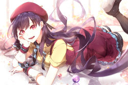 1girl beret boots commentary_request dress hand_on_own_cheek hat head_rest long_hair looking_at_viewer lying on_stomach phino purple_hair red_eyes solo thigh_strap very_long_hair vocaloid wrist_cuffs xin_hua
