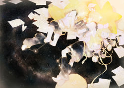 1boy 1girl blonde_hair brother_and_sister character_doll constellation eyes_closed kagamine_len kagamine_rin rella ribbon short_hair siblings sky star_(sky) starry_sky twins vocaloid