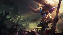 armor battlefield blue_eyes blue_skin fang hammer highres league_of_legends official_art pointy_ears poppy twintails