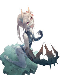 1girl absurdres asymmetrical_clothes blonde_hair brick_floor claws flower hair_flower hair_ornament highres hikiniku horns leotard long_tongue orange_eyes original pale_skin scar stitches tears tongue undead veins webbed_feet zombie