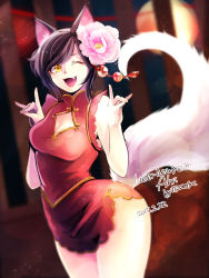 1girl ahri alternate_costume alternate_hairstyle animal_ears breasts china_dress chinese_clothes cleavage dress fangs flower flower_on_head fox_ears fox_shadow_puppet fox_tail highres league_of_legends looking_at_viewer mizoreame nail_polish one_eye_closed open_mouth red_dress short_dress tail whisker_markings yellow_eyes