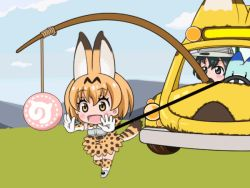 2girls animal_ears animated animated_gif bare_shoulders blonde_hair bow bowtie elbow_gloves food gloves hair_between_eyes hat kaban kemono_friends multicolored_hair multiple_girls robot safari_hat serval_(kemono_friends) serval_ears serval_tail shirt short_hair tagme tail vehicle