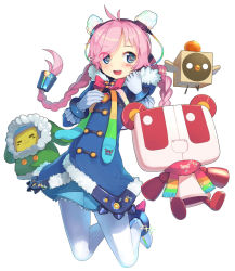 alternate_costume blue_eyes blush braid gloves long_hair open_mouth rana_(vocaloid) scarf shinbasaki smile vocaloid winter_clothes