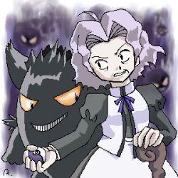aogaeru elite_four gastly gengar kikuko_(pokemon) poke_ball pokemon pokemon_(game) pokemon_frlg pokemon_rgby white_hair