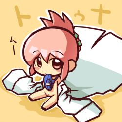 1girl blush blush_stickers character_request chibi copyright_request female flat_chest folded_ponytail full_body ikkyuu labcoat loli looking_at_viewer mouth_hold necktie off_shoulder open_labcoat pink_eyes pink_hair pussy simple_background sitting smile solo uncensored yellow_background