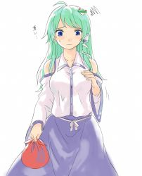 1girl bag blue_eyes carrying_bag detached_sleeves frog frog_hair_ornament frown green_hair hair_ornament hair_tubes hands_on_own_chest kochiya_sanae long_hair looking_down miyo_(ranthath) simple_background snake_hair_ornament solo squiggle sweatdrop touhou white_background wide_sleeves