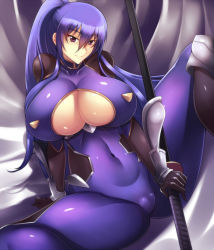 1girl akiyama_rinko arm_support blue_hair bodysuit breasts cleavage cleavage_cutout closed_mouth covered_navel curvy haganef hair_between_eyes holding holding_sword holding_weapon huge_breasts katana knee_pads long_hair ponytail purple_eyes sheath sheathed sitting skin_tight smile solo spread_legs sword taimanin_(series) taimanin_asagi taimanin_suit taimanin_yukikaze tsurime very_long_hair weapon wrist_guards