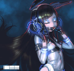 1=2 1girl ball_gag black_hair breasts covered_navel erect_nipples eyes_closed eyeshadow gag gagged gloves headphones latex latex_gloves long_hair makeup original small_breasts solo very_long_hair