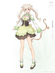 1girl :d artist_name blonde_hair bow_(weapon) breasts cleavage copyright_name dress elf full_body green_dress hair_ornament highres holding holding_weapon long_hair looking_at_viewer medium_breasts open_mouth pointy_ears purple_eyes shannon_milfy shining_(series) shining_world simple_background smile socks solo standing tanaka_takayuki twintails weapon white_background white_legwear