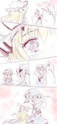 blonde_hair comic crying hat highres minust mob_cap pink_hair saigyouji_yuyuko sketch touhou yakumo_yukari yuri