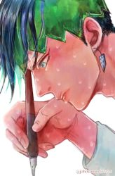 1boy blue_eyes blue_hair earrings from_side headband highres holding holding_pen jewelry jojo_no_kimyou_na_bouken josee kishibe_rohan male_focus pen profile simple_background solo sweat twitter_username white_background