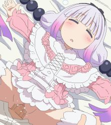 1boy 1girl bangs beads blush capelet censored clothed_sex dress eyes_closed gradient_hair hair_beads hair_ornament hairband hetero kanna_kamui kobayashi-san_chi_no_maidragon loli long_hair low_twintails lying mosaic_censoring multicolored_hair on_back open_mouth outstretched_arms penis purple_hair pussy sex silver_hair sleep_molestation solo_focus spread_arms spread_legs sweat thighhighs tomu_(tomubobu) twintails vaginal white_legwear