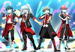 4boys alternate_costume alternate_hairstyle animal_ears bangs black_boots black_hair black_jacket black_pants blue_eyes boots braid brown_hair chinese_clothes contemporary creator_connection cross-laced_footwear dog_ears dress_shirt from_behind grin hand_on_hip hatorion highres holding idol inuyasha inuyasha_(character) jacket kyoukai_no_rinne lace-up_boots long_hair long_sleeves looking_at_viewer male_focus microphone moroboshi_ataru multiple_boys music necktie open_clothes open_jacket open_mouth pants ponytail ranma_1/2 red_hair red_necktie red_sash rokudou_rinne saotome_ranma sash shirt short_hair short_sleeves silver_hair singing single_braid sleeves_rolled_up smile standing urusei_yatsura white_boots white_shirt yellow_eyes