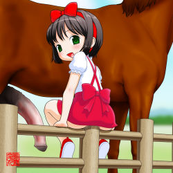 black_hair blush bow censored fence green_eyes hair_bow horse horse_penis insertion large_insertion loli machino_henmaru penis pussy_juice short_hair smile vaginal