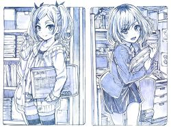 2girls blazer blush candy envelope folder hair_ornament hair_ribbon hairclip lollipop looking_at_viewer miyamori_aoi mole mole_under_eye monochrome multiple_girls open_mouth ribbon sakino_shingetsu shirobako short_hair short_twintails shorts sketch skirt smile striped striped_legwear thighhighs traditional_media twintails yano_erika