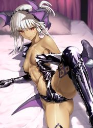 1girl ass attila_(fate/grand_order) bare_shoulders black_gloves black_legwear boots breasts collarbone dark_skin elbow_gloves fate/extella fate/extra fate/grand_order fate_(series) gloves gluteal_fold head_wings kawanakajima latex leg_lift leotard lying morrigan_aensland_(cosplay) navel on_side red_eyes small_breasts solo thigh_boots thighhighs vampire_(game) white_hair