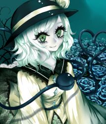 1girl blue_background blue_rose crystal eyelashes field flower flower_field green_eyes hat hat_ribbon heart heart_of_string hiyoko_risu komeiji_koishi lace-trimmed_shirt lace-trimmed_skirt long_sleeves ribbon rose silver_hair smile solo third_eye thorns touhou wavy_hair white_skin