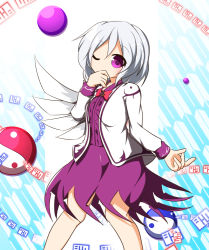 1girl alternate_eye_color bow bowtie covered_mouth dress jacket kishin_sagume orb purple_eyes senba_chidori short_hair silver_hair simple_background single_wing touhou wings yin_yang