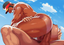 2boys anal ass bara clenched_teeth coach erection facial_hair hand_on_ass hat looking_at_viewer male_focus multiple_boys muscle nude original outdoors penetration penis sex shorts_tan sky sweat tan tanline teeth testicles yaoi