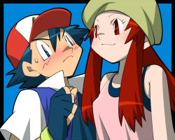 1boy 1girl amada bare_shoulders baseball_cap child fingerless_gloves fleura_(pokemon) gloves hat pokemon pokemon_(anime) satoshi_(pokemon) satoshi_(pokemon)_(classic) smile sweatdrop