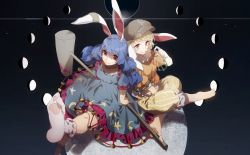 2girls animal_ears barefoot blonde_hair blue_dress blue_hair blurry brown_hat bunny_ears collarbone crescent_moon crescent_print dress eclipse feet flat_cap floppy_ears frilled_dress frilled_legwear frilled_shorts frilled_sleeves frills gibbous_moon hat kine kneeling long_hair looking_at_viewer lunar_eclipse mallet moon multiple_girls no-kan orange_shirt puffy_shorts red_eyes ringo_(touhou) seiran_(touhou) shirt short_hair short_sleeves shorts sitting smile socks star star_print striped striped_shorts touhou twintails white_legwear yellow_shorts