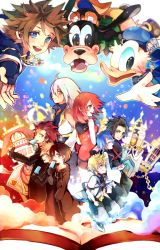 3girls 6+boys aqua_(kingdom_hearts) axel_(kingdom_hearts) black_coat black_hair blonde_hair blue_eyes blue_hair brown_hair castle clock clock_tower commentary_request disney donald_duck eating food goofy highres ice_cream inazume-panko kairi_(kingdom_hearts) kingdom_hearts kingdom_hearts_358/2_days kingdom_hearts_birth_by_sleep kingdom_hearts_ii looking_at_viewer multiple_boys multiple_girls open_mouth organization_xiii red_hair riku roxas smile sora_(kingdom_hearts) tagme terra_(kingdom_hearts) tower ventus white_hair xion_(kingdom_hearts)