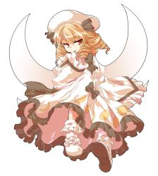 1girl alphes_(style) blonde_hair bobby_socks bow dairi dress drill_hair finger_to_face hair_bow hat luna_child parody red_eyes short_hair simple_background smile socks solo style_parody tachi-e touhou white_background wings